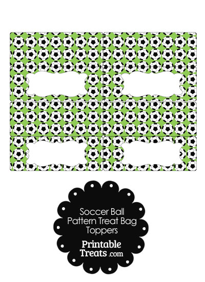 Light Green Soccer Ball Pattern Treat Bag Toppers from PrintableTreats.com