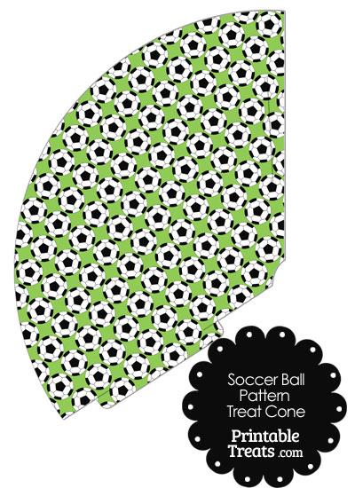 Light Green Soccer Ball Pattern Treat Cone from PrintableTreats.com