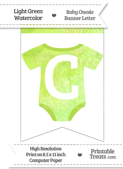 Light Green Watercolor Baby Onesie Bunting Banner Letter C from PrintableTreats.com
