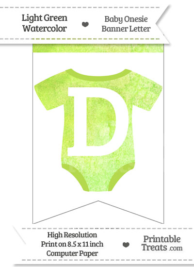 Light Green Watercolor Baby Onesie Bunting Banner Letter D from PrintableTreats.com