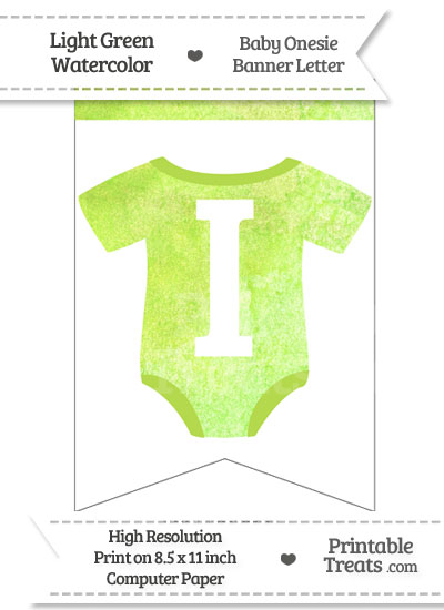 Light Green Watercolor Baby Onesie Bunting Banner Letter I from PrintableTreats.com