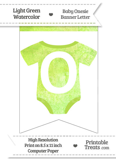 Light Green Watercolor Baby Onesie Bunting Banner Letter O from PrintableTreats.com