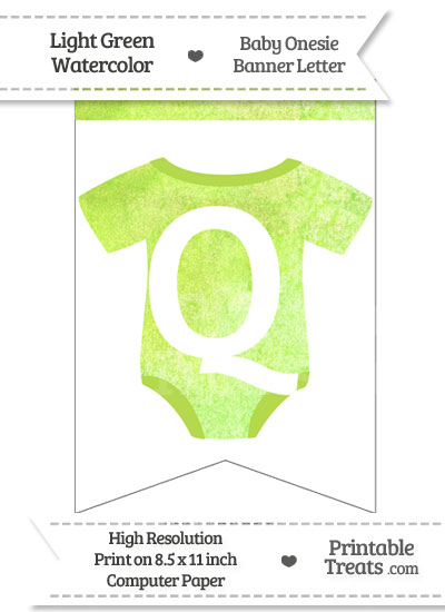 Light Green Watercolor Baby Onesie Bunting Banner Letter Q from PrintableTreats.com