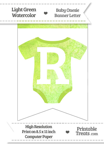 Light Green Watercolor Baby Onesie Bunting Banner Letter R from PrintableTreats.com