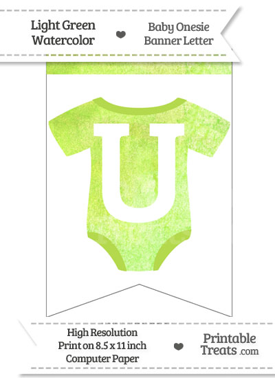 Light Green Watercolor Baby Onesie Bunting Banner Letter U from PrintableTreats.com