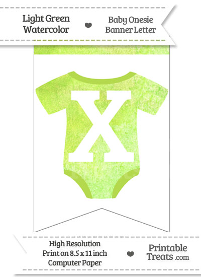Light Green Watercolor Baby Onesie Bunting Banner Letter X from PrintableTreats.com