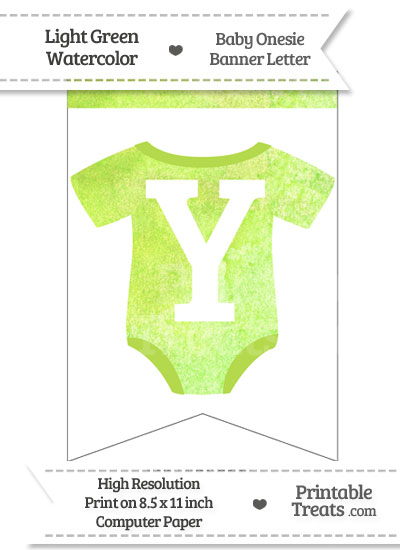 Light Green Watercolor Baby Onesie Bunting Banner Letter Y from PrintableTreats.com