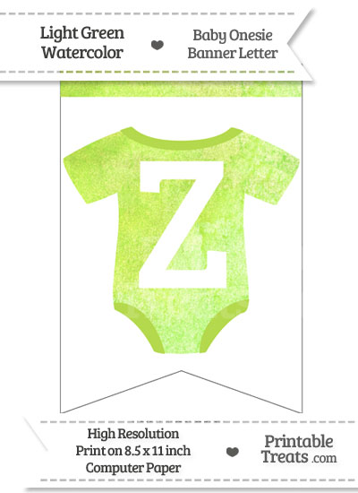 Light Green Watercolor Baby Onesie Bunting Banner Letter Z from PrintableTreats.com
