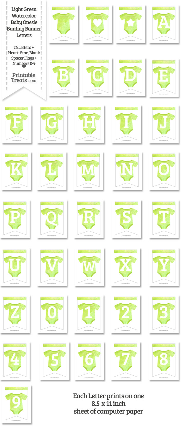 Light Green Watercolor Baby Onesie Bunting Banner Letters Download from PrintableTreats.com