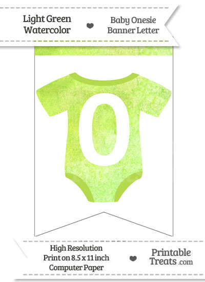 Light Green Watercolor Baby Onesie Bunting Banner Number 0 from PrintableTreats.com