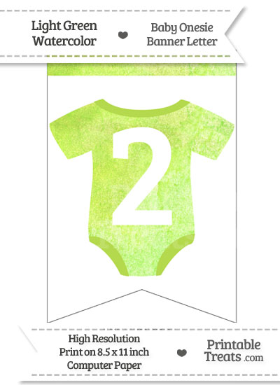 Light Green Watercolor Baby Onesie Bunting Banner Number 2 from PrintableTreats.com