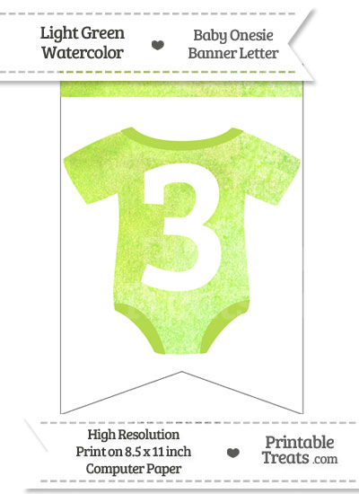 Light Green Watercolor Baby Onesie Bunting Banner Number 3 from PrintableTreats.com
