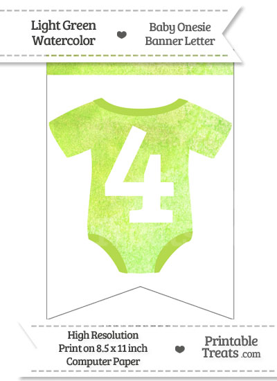 Light Green Watercolor Baby Onesie Bunting Banner Number 4 from PrintableTreats.com