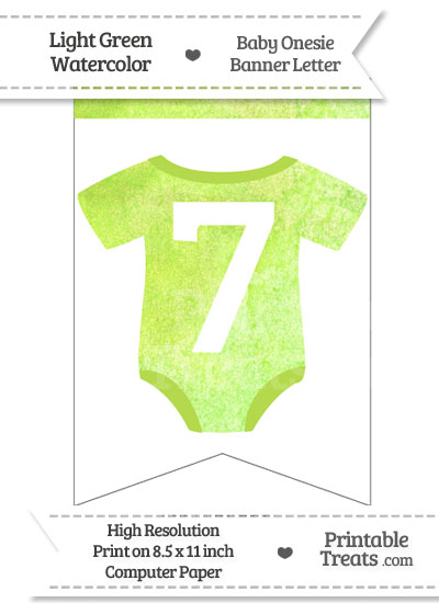 Light Green Watercolor Baby Onesie Bunting Banner Number 7 from PrintableTreats.com