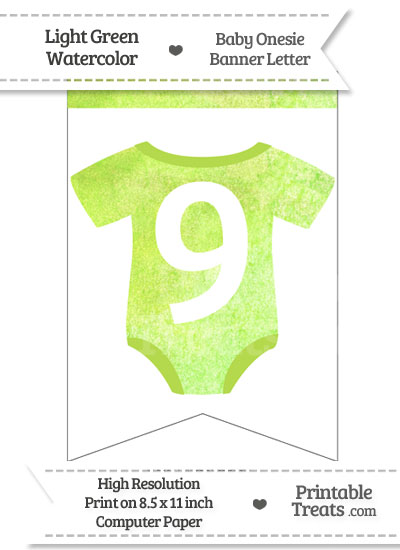 Light Green Watercolor Baby Onesie Bunting Banner Number 9 from PrintableTreats.com