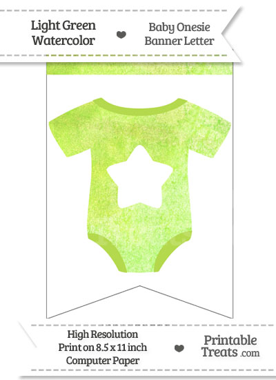 Light Green Watercolor Baby Onesie Bunting Banner Star End Flag from PrintableTreats.com