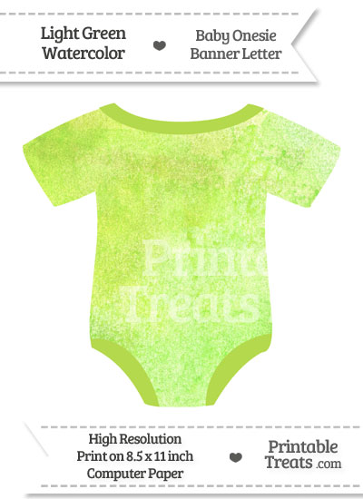 Light Green Watercolor Baby Onesie Shaped Banner Blank Spacer Flag from PrintableTreats.com