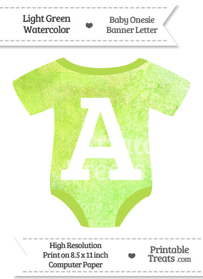 Light Green Watercolor Baby Onesie Shaped Banner Letter A from PrintableTreats.com