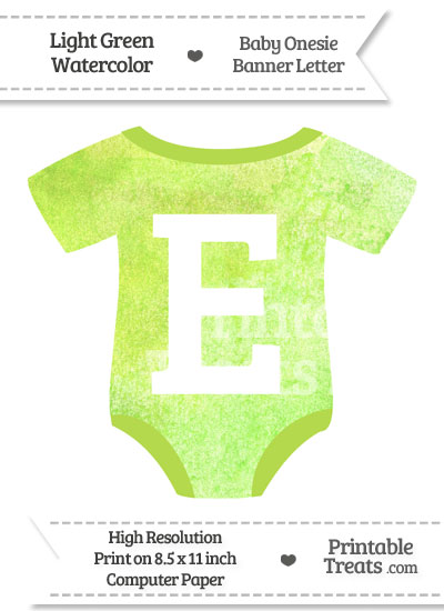 Light Green Watercolor Baby Onesie Shaped Banner Letter E from PrintableTreats.com