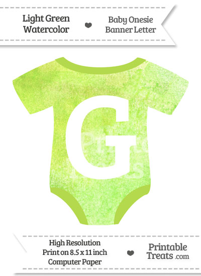 Light Green Watercolor Baby Onesie Shaped Banner Letter G from PrintableTreats.com