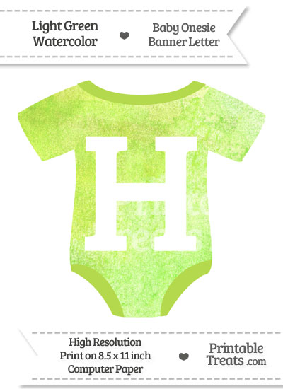 Light Green Watercolor Baby Onesie Shaped Banner Letter H from PrintableTreats.com