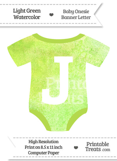 Light Green Watercolor Baby Onesie Shaped Banner Letter J from PrintableTreats.com
