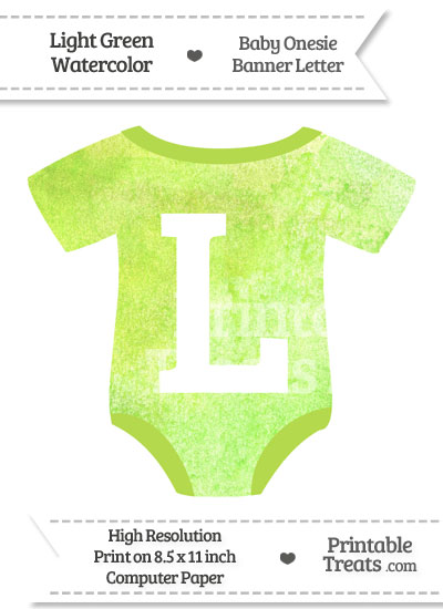 Light Green Watercolor Baby Onesie Shaped Banner Letter L from PrintableTreats.com