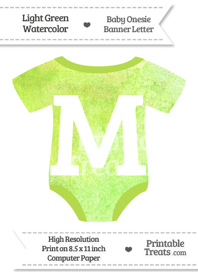Light Green Watercolor Baby Onesie Shaped Banner Letter M from PrintableTreats.com