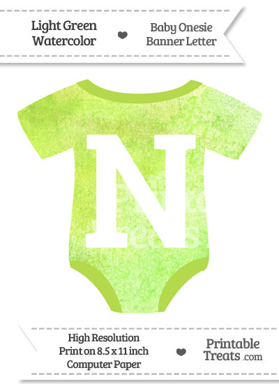 Light Green Watercolor Baby Onesie Shaped Banner Letter N from PrintableTreats.com