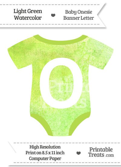 Light Green Watercolor Baby Onesie Shaped Banner Letter O from PrintableTreats.com