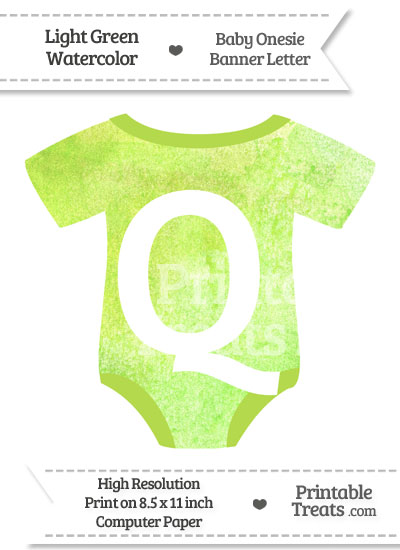 Light Green Watercolor Baby Onesie Shaped Banner Letter Q from PrintableTreats.com