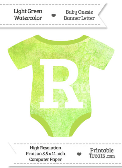 Light Green Watercolor Baby Onesie Shaped Banner Letter R from PrintableTreats.com