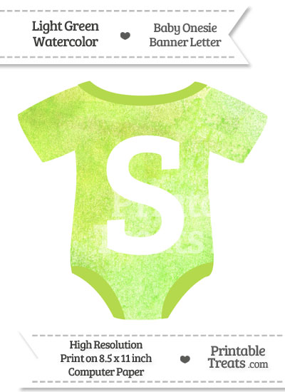 Light Green Watercolor Baby Onesie Shaped Banner Letter S from PrintableTreats.com
