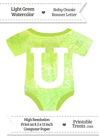 Light Green Watercolor Baby Onesie Shaped Banner Letter U from PrintableTreats.com