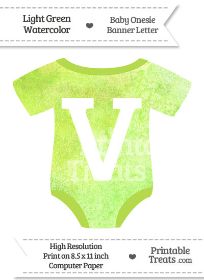 Light Green Watercolor Baby Onesie Shaped Banner Letter V from PrintableTreats.com