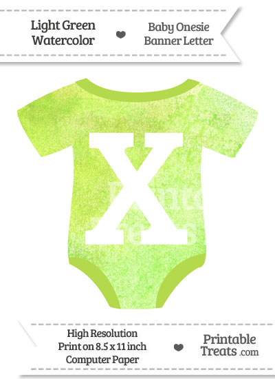 Light Green Watercolor Baby Onesie Shaped Banner Letter X from PrintableTreats.com