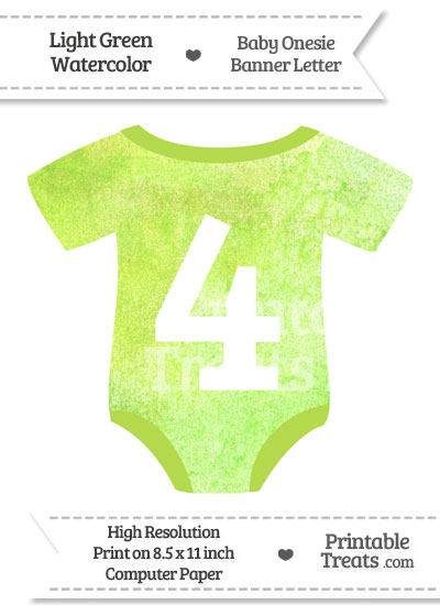 Light Green Watercolor Baby Onesie Shaped Banner Number 4 from PrintableTreats.com