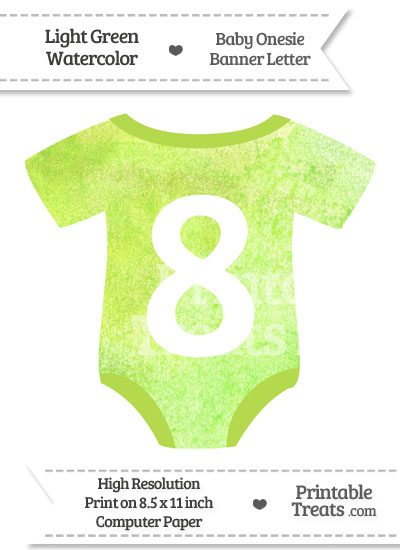 Light Green Watercolor Baby Onesie Shaped Banner Number 8 from PrintableTreats.com