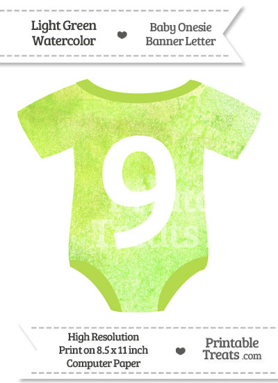 Light Green Watercolor Baby Onesie Shaped Banner Number 9 from PrintableTreats.com