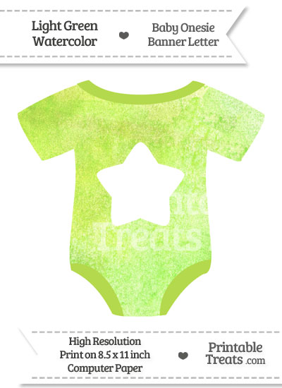 Light Green Watercolor Baby Onesie Shaped Banner Star End Flag from PrintableTreats.com