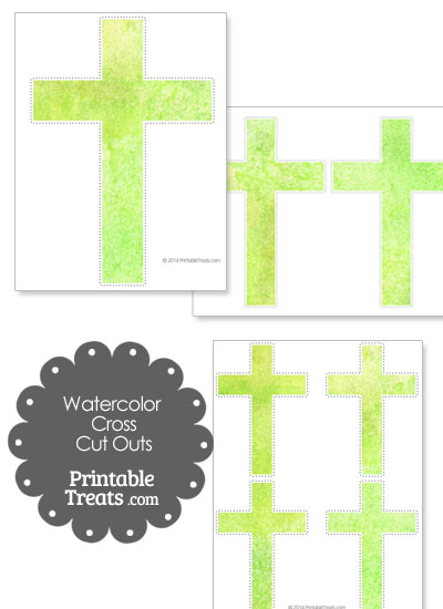 Light Green Watercolor Cross Cut Outs from PrintableTreats.com