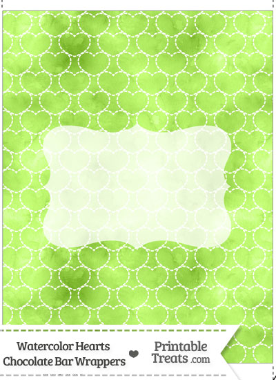 Light Green Watercolor Hearts Chocolate Bar Wrappers from PrintableTreats.com