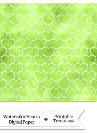 Light Green Watercolor Hearts Digital Scrapbook Paper from PrintableTreats.com