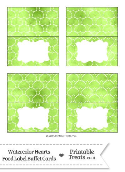 Light Green Watercolor Hearts Food Labels from PrintableTreats.com
