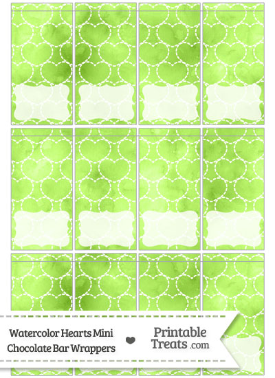 Light Green Watercolor Hearts Mini Chocolate Bar Wrappers from PrintableTreats.com