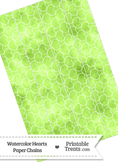 Light Green Watercolor Hearts Paper Chains from PrintableTreats.com
