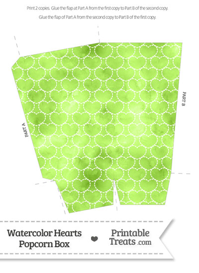 Light Green Watercolor Hearts Popcorn Box from PrintableTreats.com