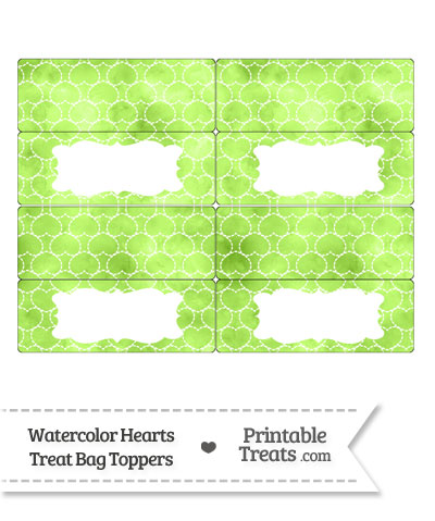 Light Green Watercolor Hearts Treat Bag Toppers from PrintableTreats.com