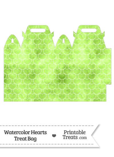 Light Green Watercolor Hearts Treat Bag from PrintableTreats.com