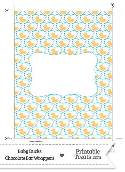 Light Orange Baby Ducks Chocolate Bar Wrappers from PrintableTreats.com